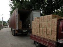 Loading container for export.