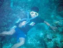 Diver with real blue starfish.