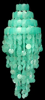 Turquoise Capiz Chandelier - Click For Larger View