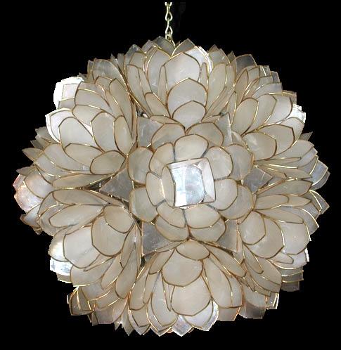 Click Here To Go Back Capiz Lotus Flower Chandelier