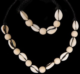 Cut cowrie bamboo beads - Click For Larger View