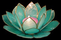 Turquoise Lotus Candle - Click For Larger View